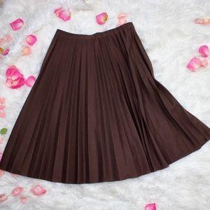 True Vintage Brown Pleated Pinup Midi Skirt L/XL